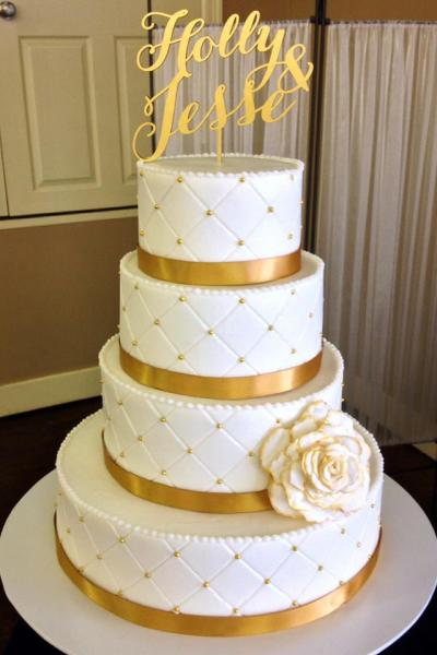 1. Beautiful White & Gold Wedding Cake - Wedding Cakes Gallery