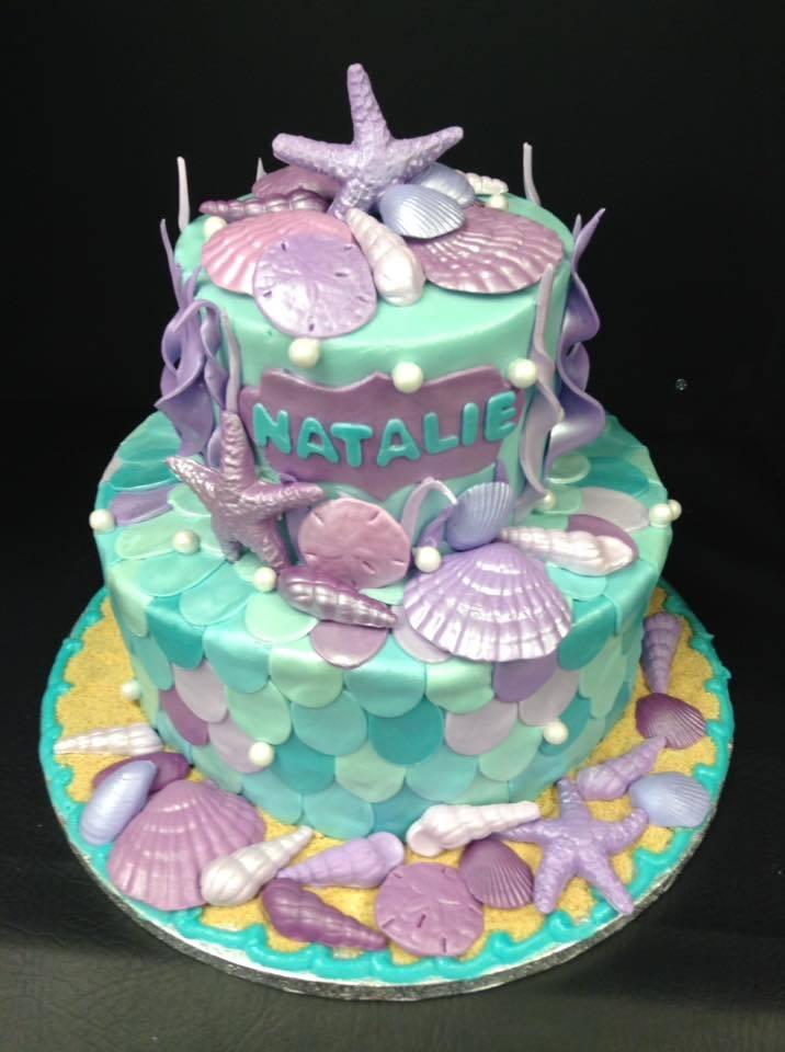 Unique Sea-Foam Green & Purple Birthday Cake - Party Cakes